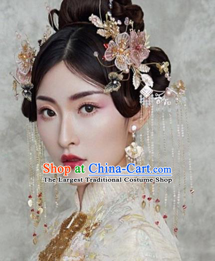Chinese Traditional Bride Tassel Hair Clips Handmade Hairpins Wedding Hair Accessories Complete Set for Women