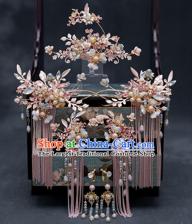 Chinese Traditional Bride Shell Hair Comb Handmade Hairpins Wedding Hair Accessories Complete Set for Women