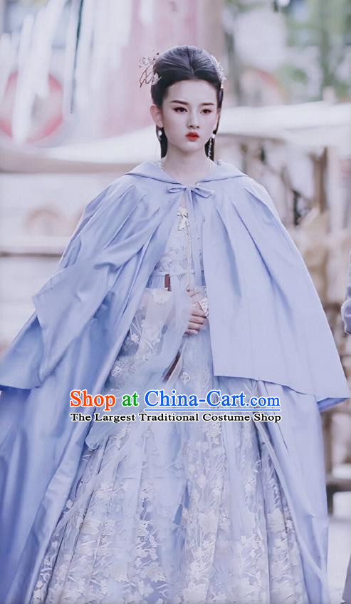 Chinese Ancient Princess Yu Ran Blue Hanfu Dress Drama Novoland Eagle Flag Song Zuer Replica Costumes for Women