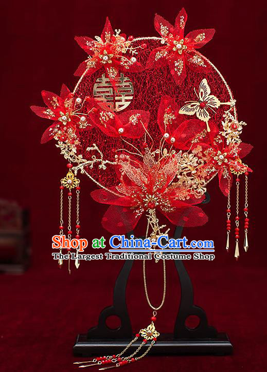 Chinese Traditional Wedding Red Silk Flowers Palace Fans Ancient Bride Prop Round Fan for Women