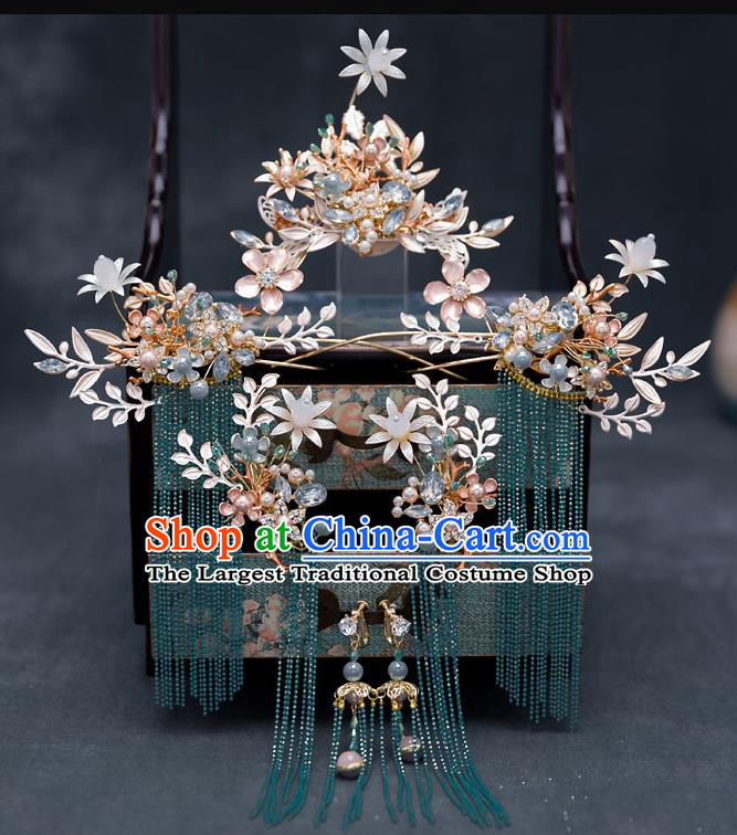 Top Chinese Traditional Wedding Hair Comb Bride Handmade Tassel Hairpins Hair Accessories Complete Set