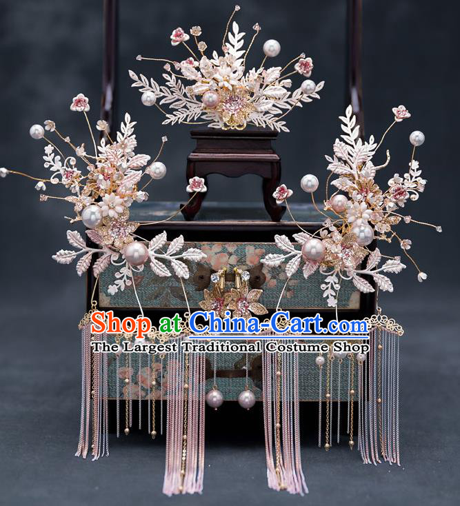 Top Chinese Traditional Wedding Leaf Hair Comb Bride Handmade Tassel Hairpins Hair Accessories Complete Set