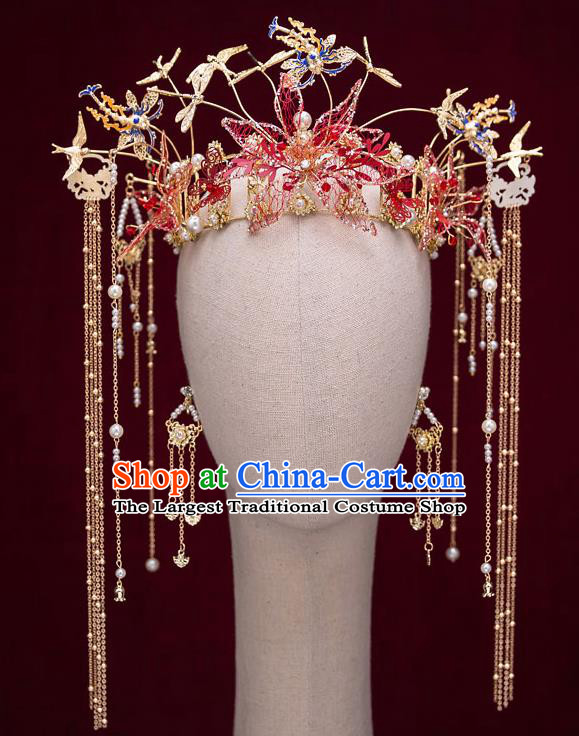Top Chinese Traditional Wedding Golden Dragonfly Hair Crown Bride Handmade Tassel Hairpins Hair Accessories Complete Set