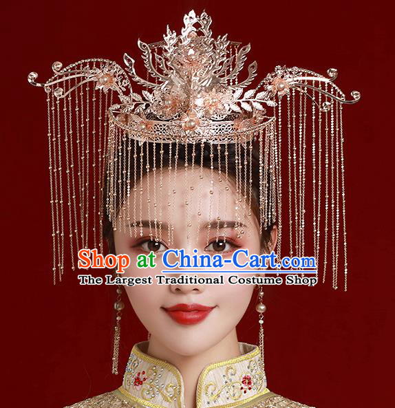Top Chinese Traditional Wedding Golden Hair Crown Bride Handmade Tassel Hairpins Hair Accessories Complete Set