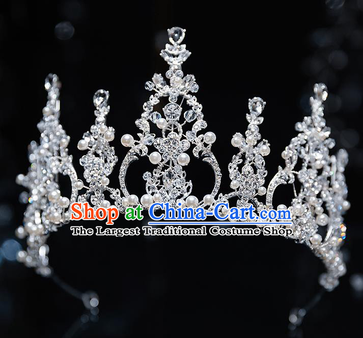 Top Grade Handmade Princess Crystal Beads Royal Crown Wedding Bride Hair Accessories for Women