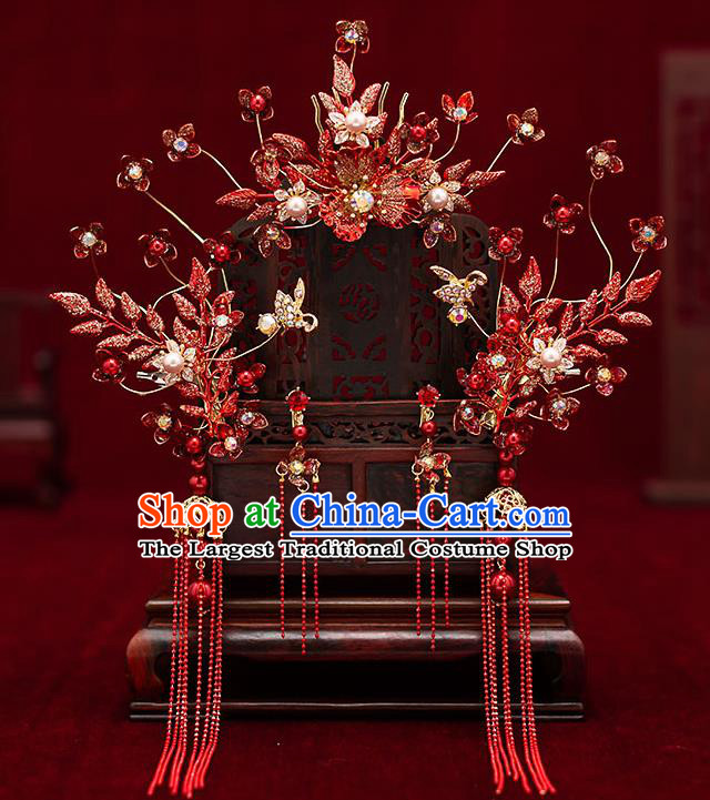Top Chinese Traditional Wedding Red Flowers Hair Comb Bride Handmade Tassel Hairpins Hair Accessories Complete Set