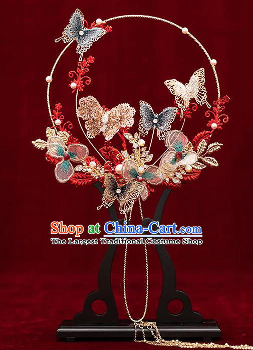 Chinese Traditional Wedding Palace Fans Ancient Bride Prop Butterfly Round Fan for Women