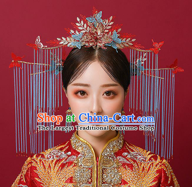 Top Chinese Traditional Wedding Blue Tassel Phoenix Coronet Bride Handmade Hairpins Hair Accessories Complete Set