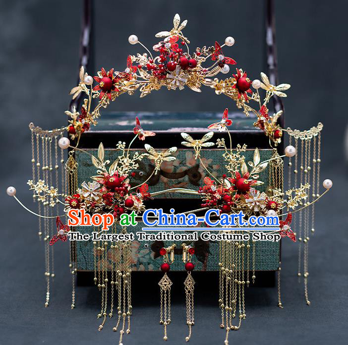Top Chinese Traditional Wedding Dragonfly Tassel Phoenix Coronet Bride Handmade Hairpins Hair Accessories Complete Set
