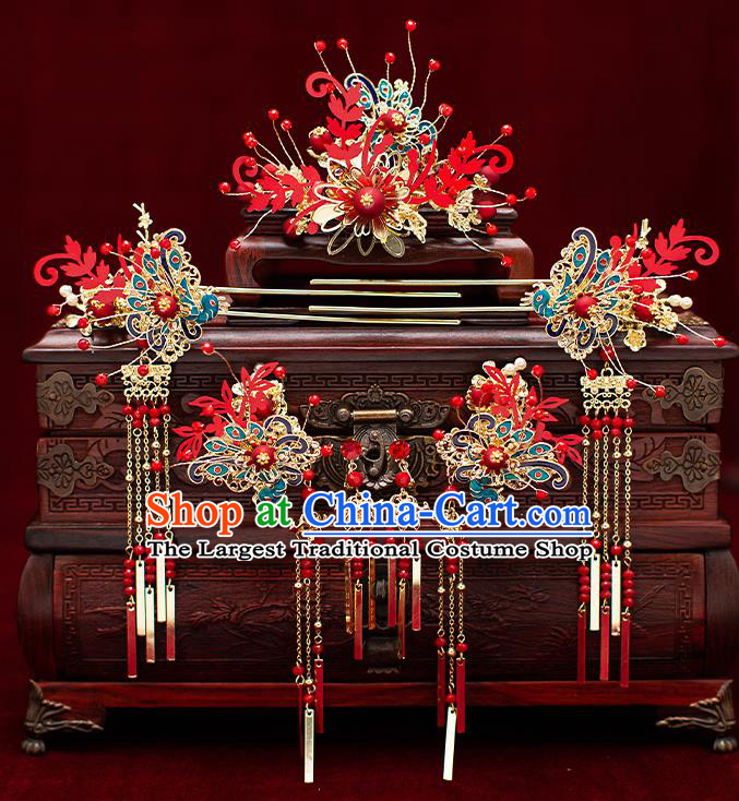 Top Chinese Traditional Wedding Hair Comb Bride Handmade Hairpins Hair Accessories Complete Set