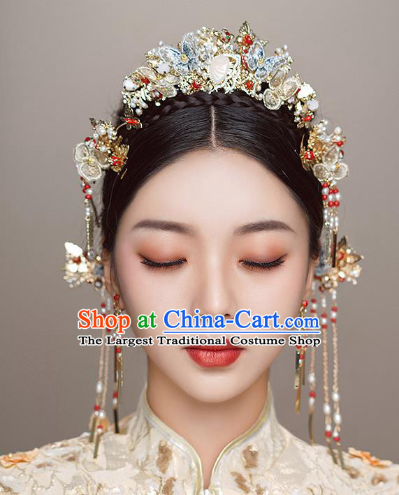Top Chinese Traditional Wedding Blue Butterfly Hair Crown Bride Handmade Hairpins Hair Accessories Complete Set
