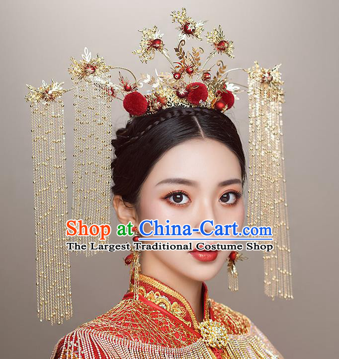 Top Chinese Traditional Wedding Luxury Phoenix Coronet Bride Handmade Hairpins Hair Accessories Complete Set