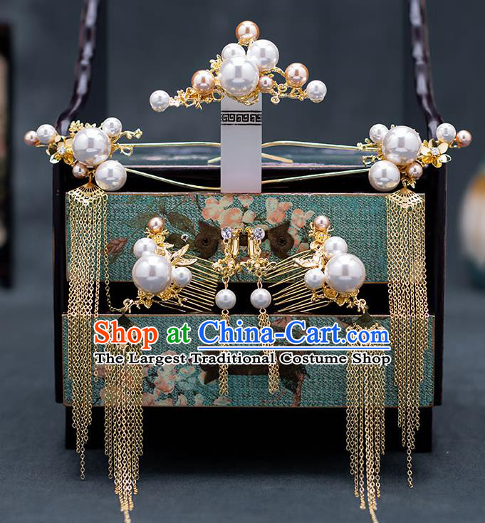 Top Chinese Traditional Wedding Luxury Hair Comb Bride Handmade Hairpins Hair Accessories Complete Set