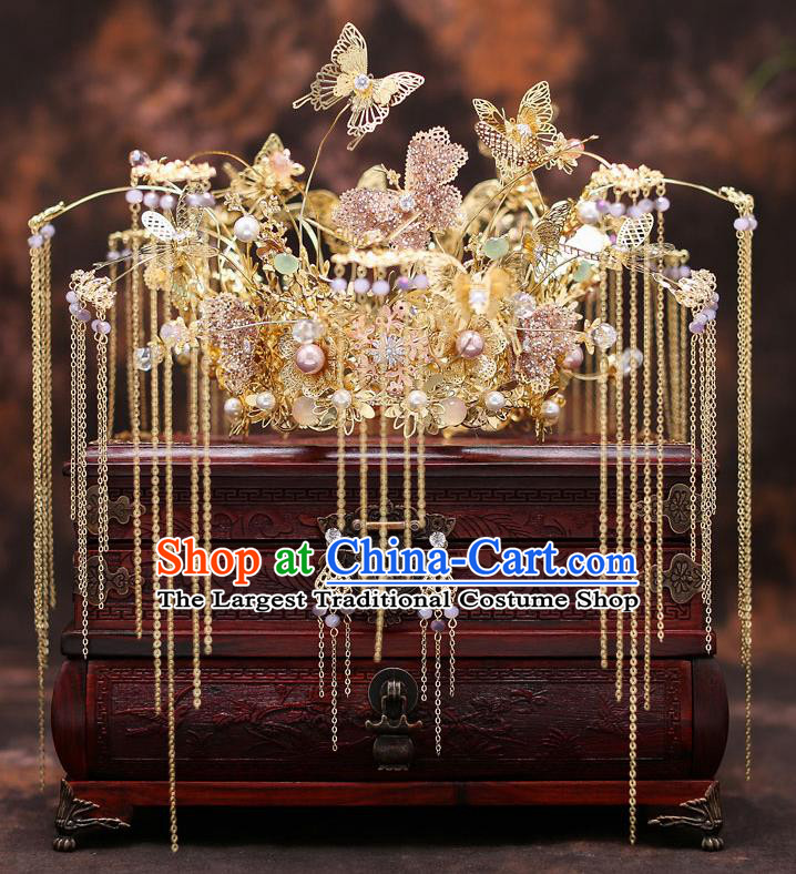 Top Chinese Traditional Wedding Golden Butterfly Hair Crown Bride Handmade Hairpins Hair Accessories Complete Set