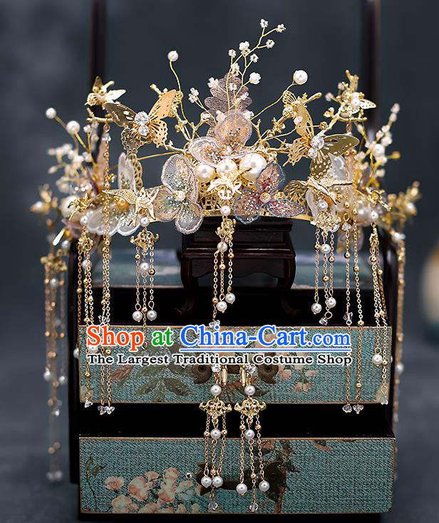 Top Chinese Traditional Wedding Tassel Golden Hair Clasp Bride Handmade Hairpins Hair Accessories Complete Set
