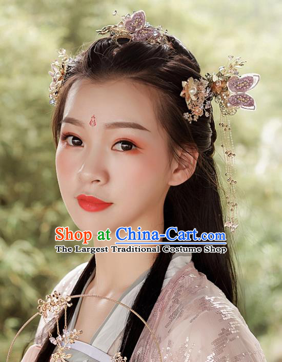 Top Chinese Traditional Wedding Purple Butterfly Hair Comb Bride Handmade Tassel Hairpins Hair Accessories Complete Set