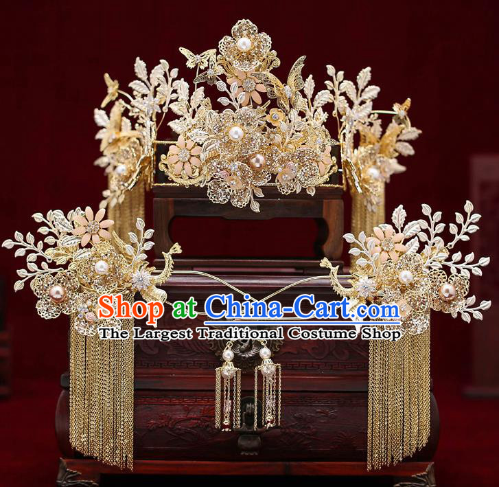 Top Chinese Traditional Wedding Golden Royal Crown Bride Handmade Tassel Hairpins Hair Accessories Complete Set