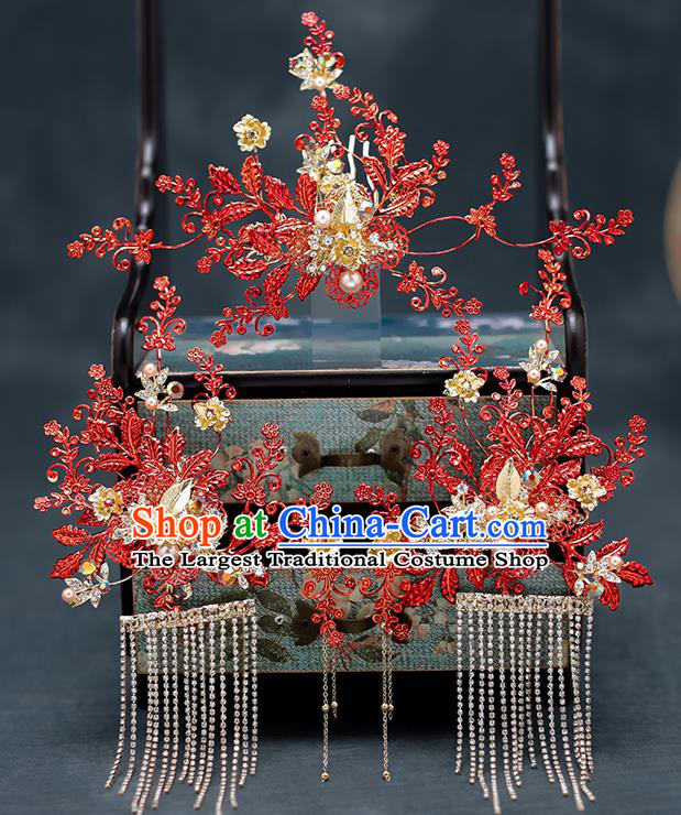 Top Chinese Traditional Wedding Hair Comb Bride Handmade Red Leaf Hairpins Hair Accessories Complete Set