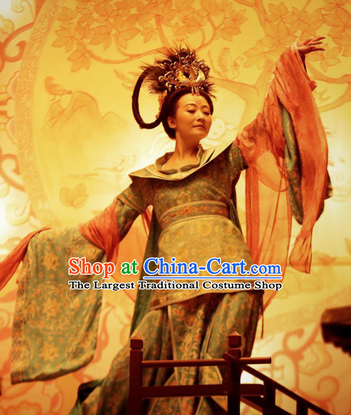 Chinese Ancient Tang Dynasty Beautiful Woman Dress Drama the Longest Day in Chang An Replica Costumes and Headpiece Complete Set