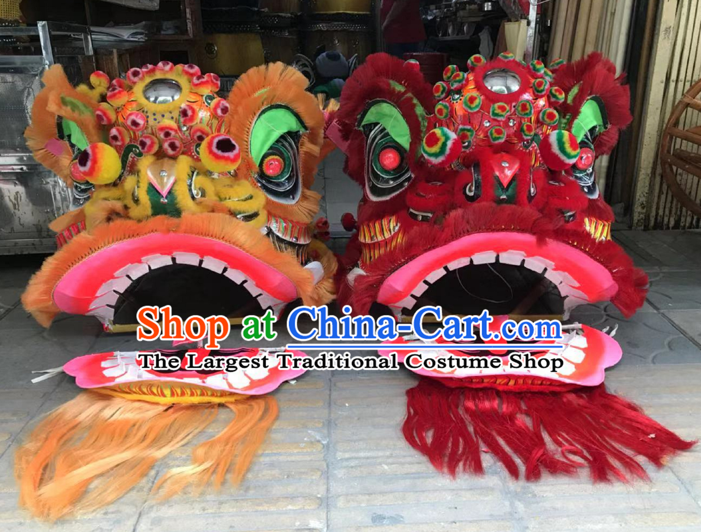 Traditional Fut San Lion Dance Costume 2 Complete Sets