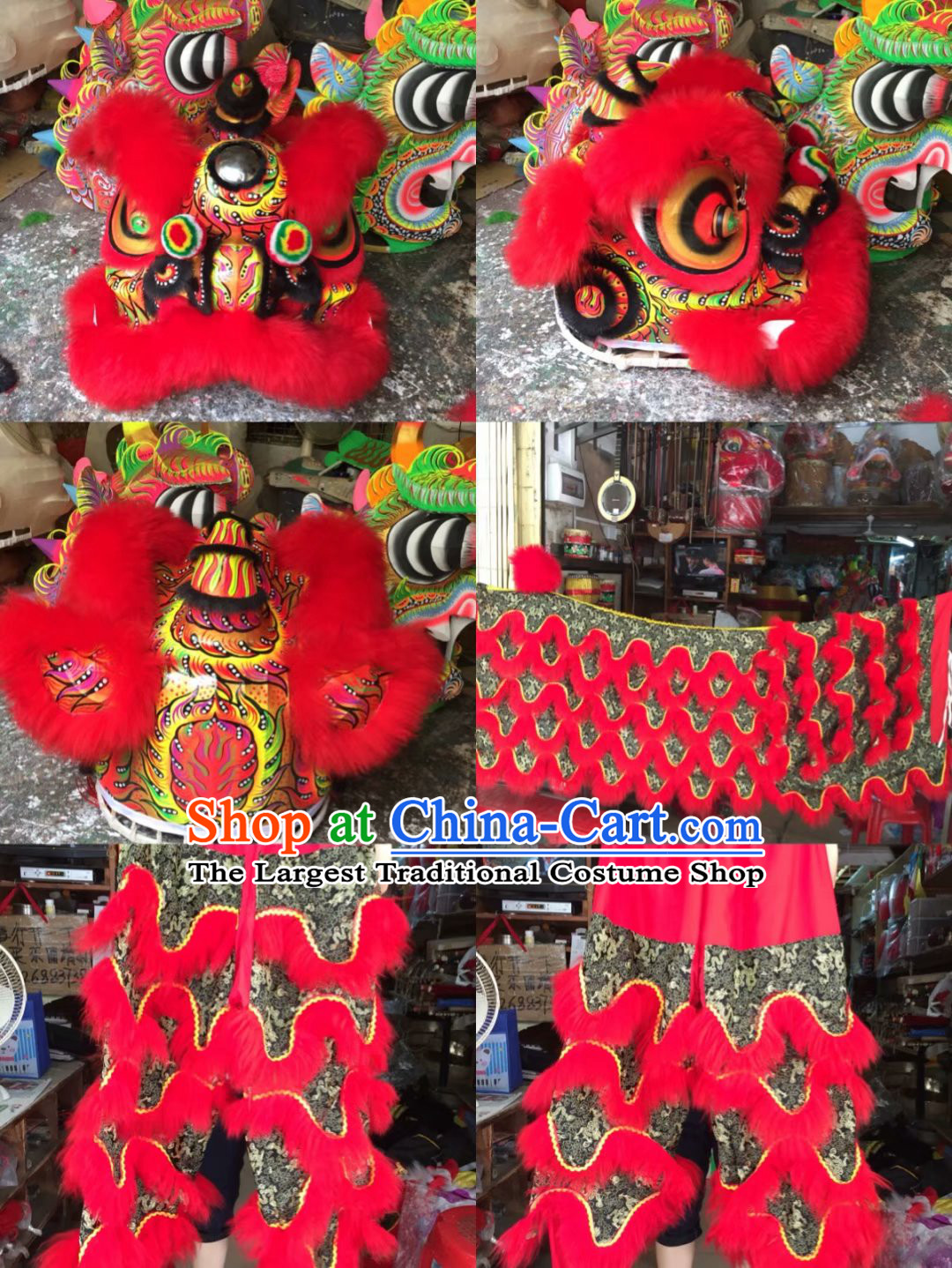 Chinese New Year Traditional Chinese Southern Lion Dance Lion Dancing Costume Full Set