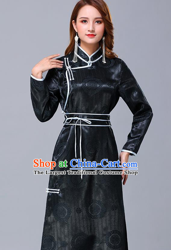 Chinese Traditional Mongolian Nationality Dark Green Satin Dress Mongol Ethnic Stage Show Costume for Women