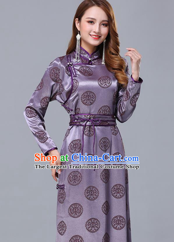 Chinese Traditional Mongolian Nationality Violet Satin Dress Mongol Ethnic Stage Show Costume for Women