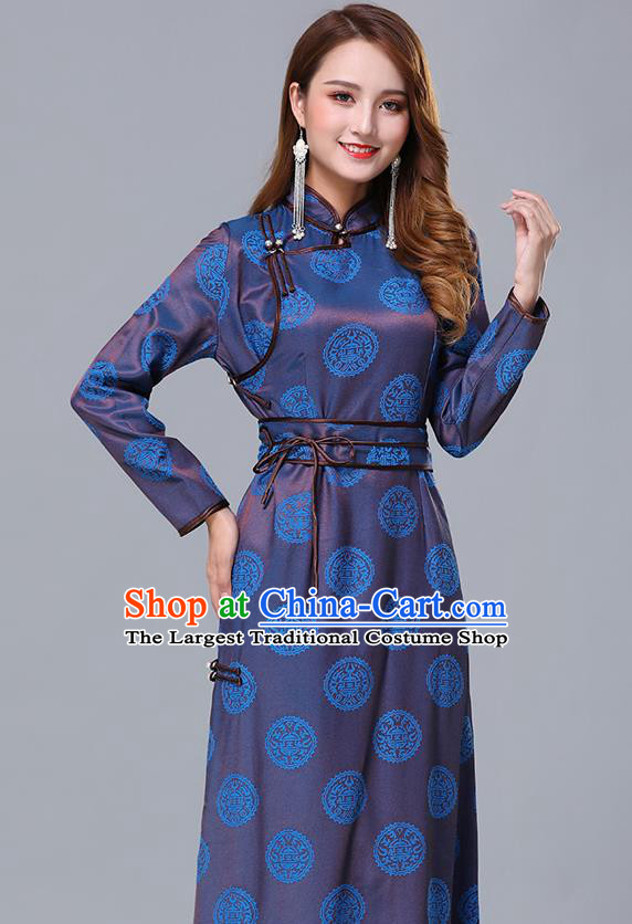 Chinese Traditional Mongolian Nationality Blue Satin Dress Mongol Ethnic Stage Show Costume for Women