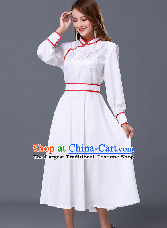 Chinese Traditional Mongolian Nationality White Dress Minority Garment Mongol Ethnic Stand Collar Costume for Women