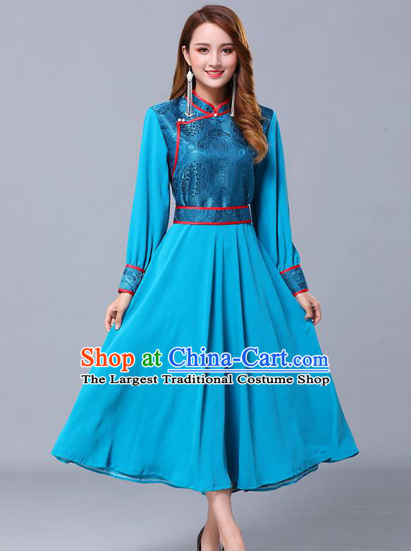 Chinese Traditional Mongolian Nationality Blue Dress Minority Garment Mongol Ethnic Stand Collar Costume for Women