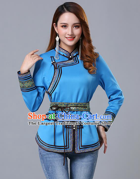 Chinese Traditional Blue Satin Blouse Mongol Ethnic Nationality Costume Mongolian Minority Upper Outer Garment for Women