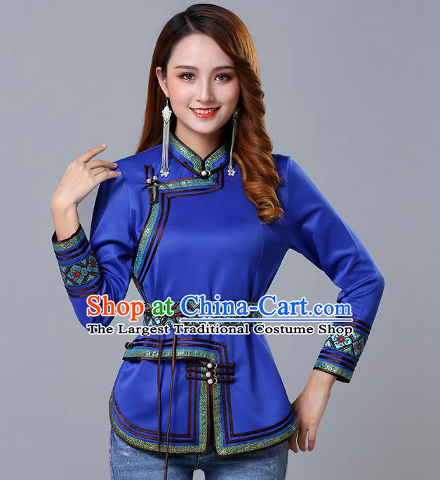 Chinese Traditional Royalblue Satin Blouse Mongol Ethnic Nationality Costume Mongolian Minority Upper Outer Garment for Women