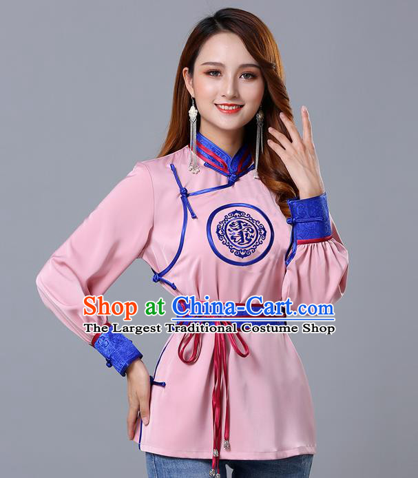 Chinese Traditional Mongolian Minority Pink Satin Blouse Mongol Ethnic Nationality Upper Outer Garment Costume for Women