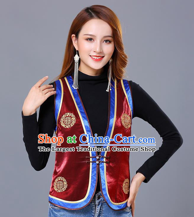 Chinese Mongol Ethnic Nationality Wine Red Satin Vest Traditional Mongolian Minority Garment Waistcoat Costume for Women