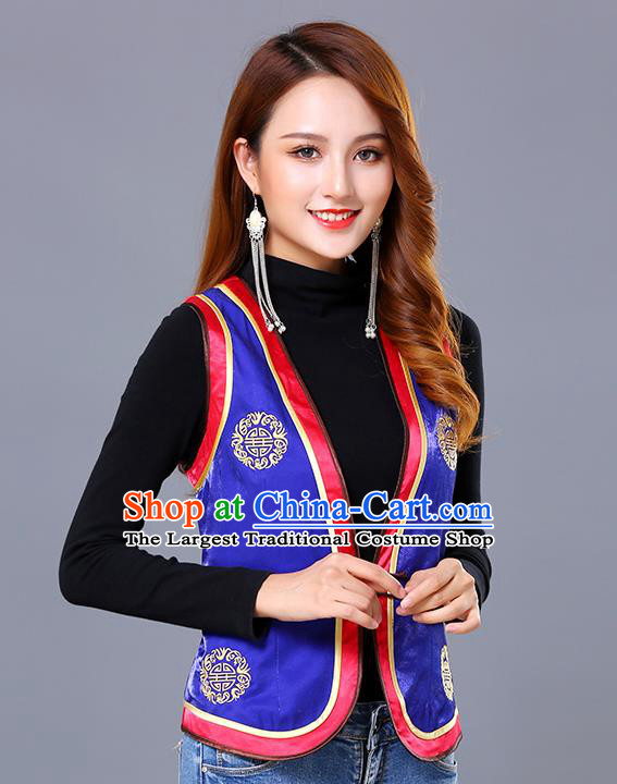 Chinese Mongol Ethnic Nationality Royalblue Satin Vest Traditional Mongolian Minority Garment Waistcoat Costume for Women