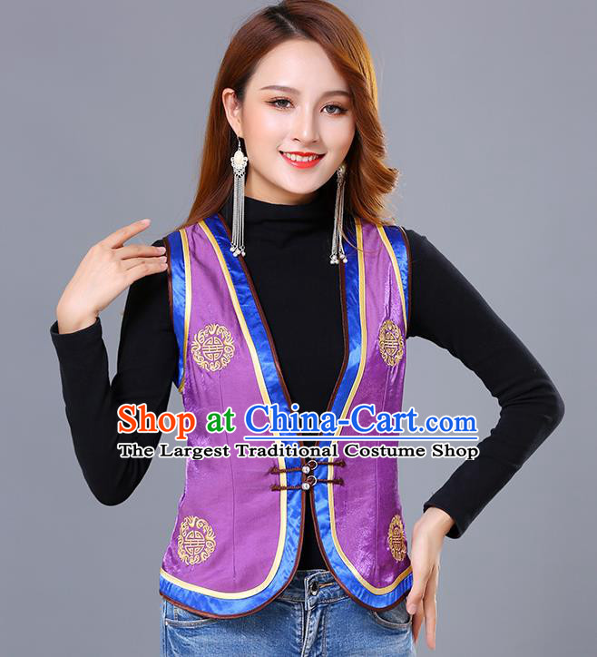 Chinese Mongol Ethnic Nationality Purple Satin Vest Traditional Mongolian Minority Garment Waistcoat Costume for Women