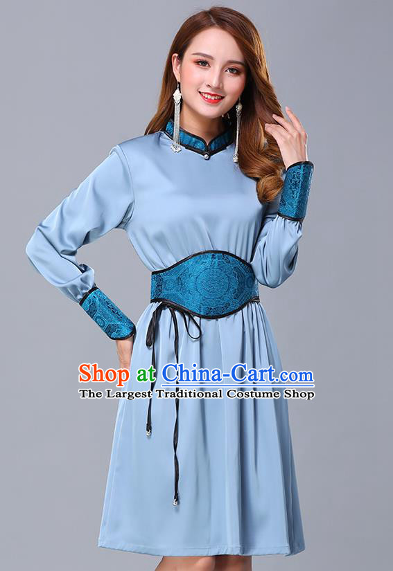Chinese Traditional Mongolian Embroidered Blue Short Dress Minority Garment Mongol Ethnic Nationality Stand Collar Costume for Women