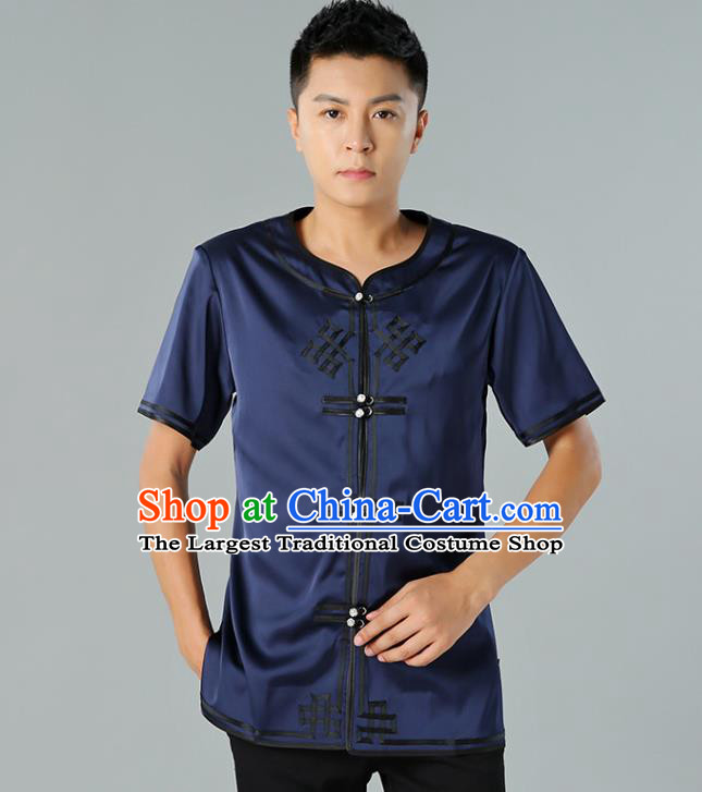 Chinese Mongol Nationality Navy Silk Short Sleeve Shirt Traditional Ethnic Minority Costume Upper Outer Garment for Men
