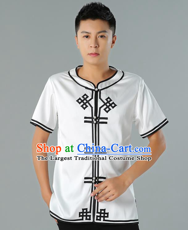 Chinese Mongol Nationality White Silk Short Sleeve Shirt Traditional Ethnic Minority Costume Upper Outer Garment for Men
