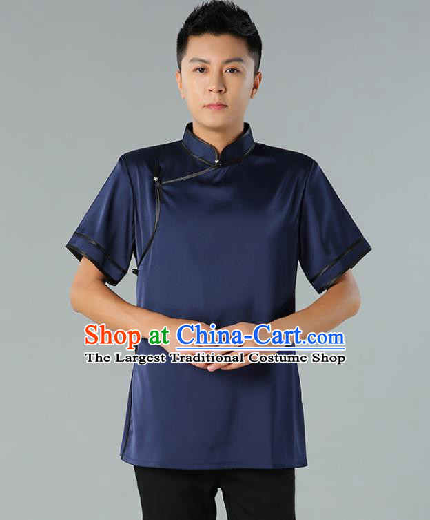 Chinese Mongol Nationality Minority Summer Navy Shirt Traditional Ethnic Upper Outer Garment Informal Costume for Men