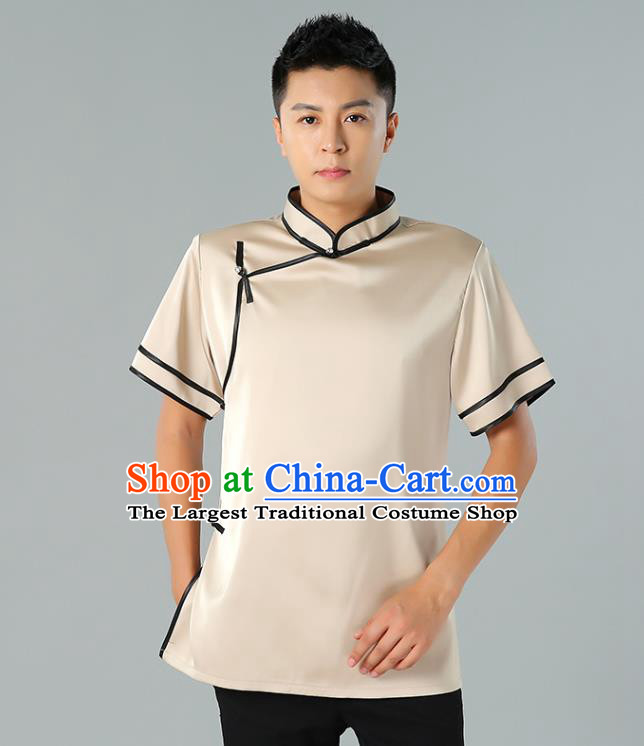 Chinese Mongol Nationality Minority Summer Champagne Shirt Traditional Ethnic Upper Outer Garment Informal Costume for Men