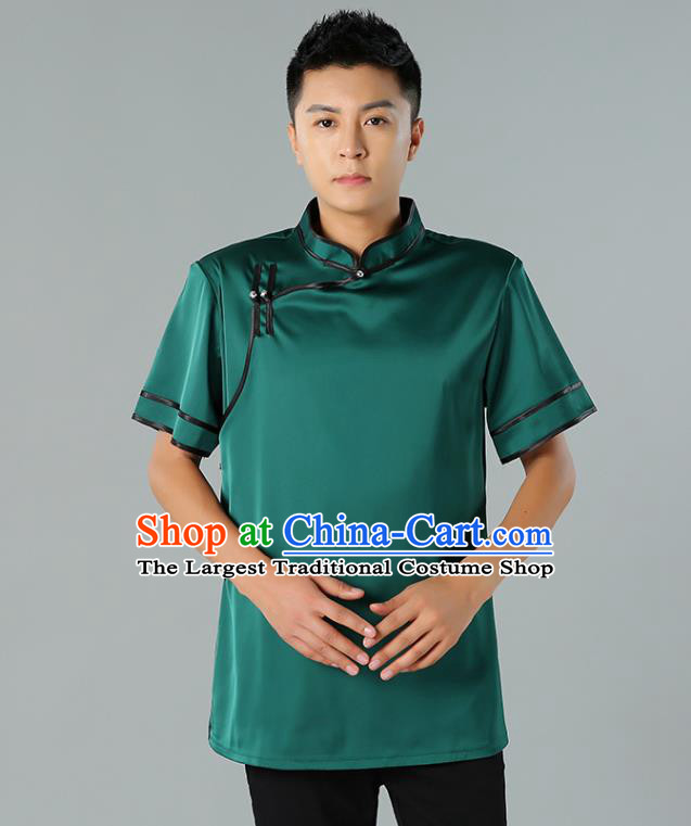 Chinese Mongol Nationality Minority Summer Green Shirt Traditional Ethnic Upper Outer Garment Informal Costume for Men