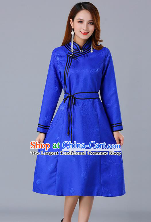 Chinese Traditional Mongol Ethnic Royalblue Brocade Dress Costume Mongolian Minority Woman Informal Garment
