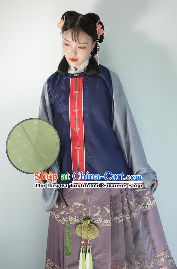 Chinese Traditional Ming Dynasty Princess Navy Brocade Vest Ancient Noble Lady Waistcoat Hanfu Garment