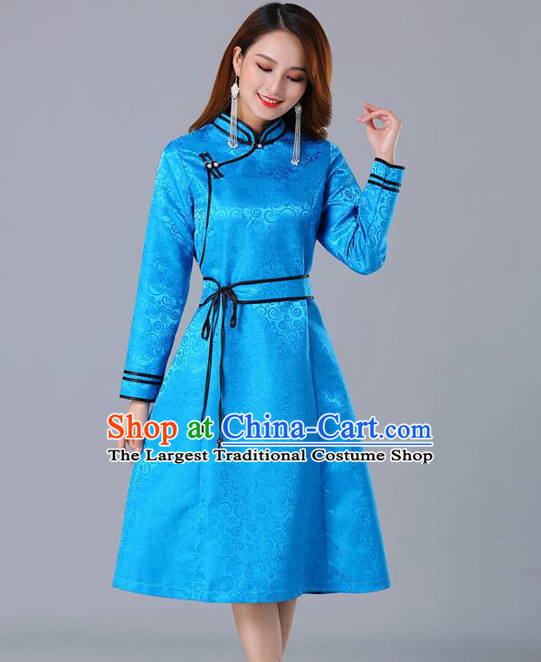 Chinese Traditional Mongol Ethnic Woman Informal Costume Mongolian Minority Garment Blue Brocade Dress