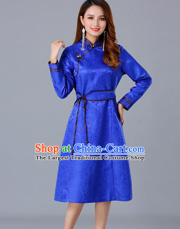 Chinese Traditional Mongol Ethnic Woman Informal Costume Mongolian Minority Garment Royalblue Brocade Dress