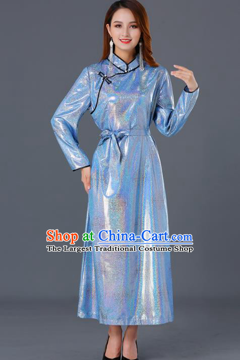 Chinese Traditional Mongolian Blue Dress Ethnic Woman Informal Costume Mongol Minority Garment