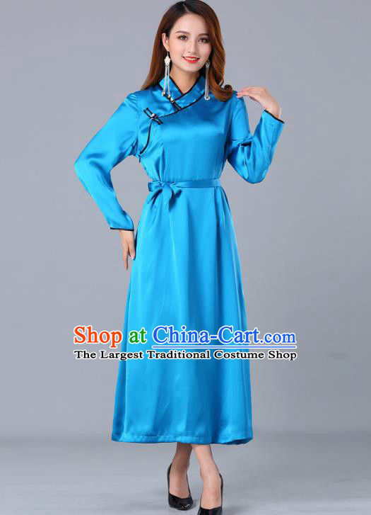 Chinese Traditional Mongolian Nationality Blue Satin Dress Ethnic Woman Informal Costume Mongol Minority Garment Apparels