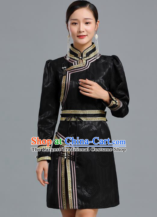Traditional Chinese Mongolian Nationality Black Brocade Short Dress Ethnic Informal Costume Mongol Minority Garment Woman Apparels