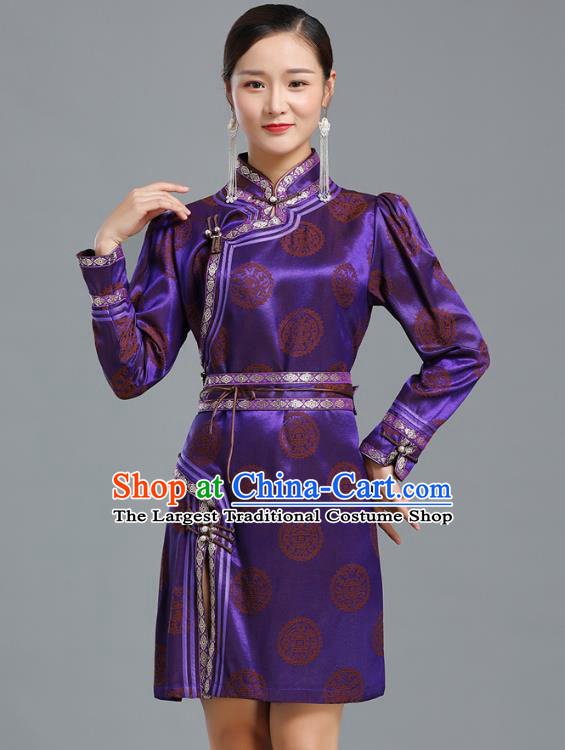 Traditional Chinese Mongolian Nationality Purple Brocade Short Dress Ethnic Informal Costume Mongol Minority Garment Woman Apparels